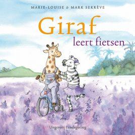 Giraf leert fietsen
