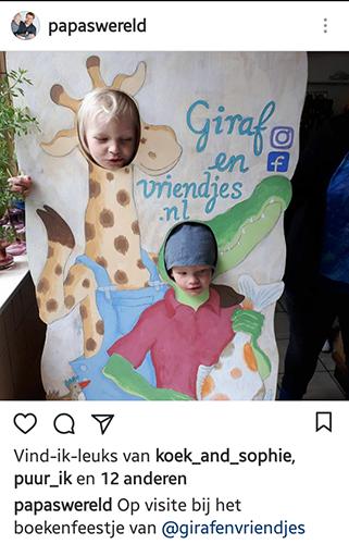 hoofd door een bord, fotobord giraf