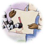 Zebra schrijft haar eigen naam illustratie uit Giraf schrijft!