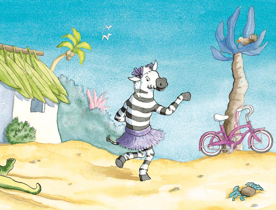 zebra huppelt weg op het strand , paarse beachcruiser illustratie