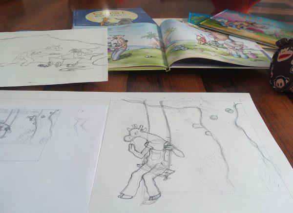 schetsen en teken van giraf prentenboek