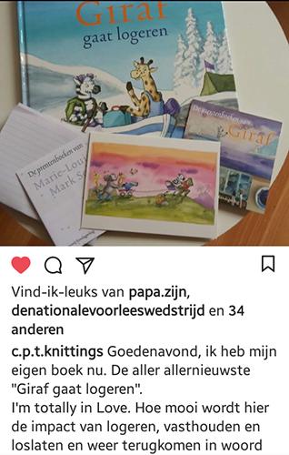 giraf gaat logeren op instagram, ansichtkaarten en folders