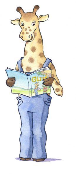 giraf-leest-voor-boekenlegger-witte-achtergrond