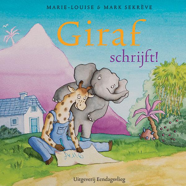 giraf schrijft zijn naam en olifant kijkt mee op de achtergrond het huije van olifant en de berg