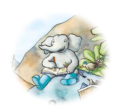 tiny-olifant-zit-op-de-rots