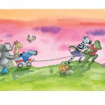 ansichtkaart van Giraf die in een karretje zit en voorgetrokken wordt, kinderboekenweek 2019