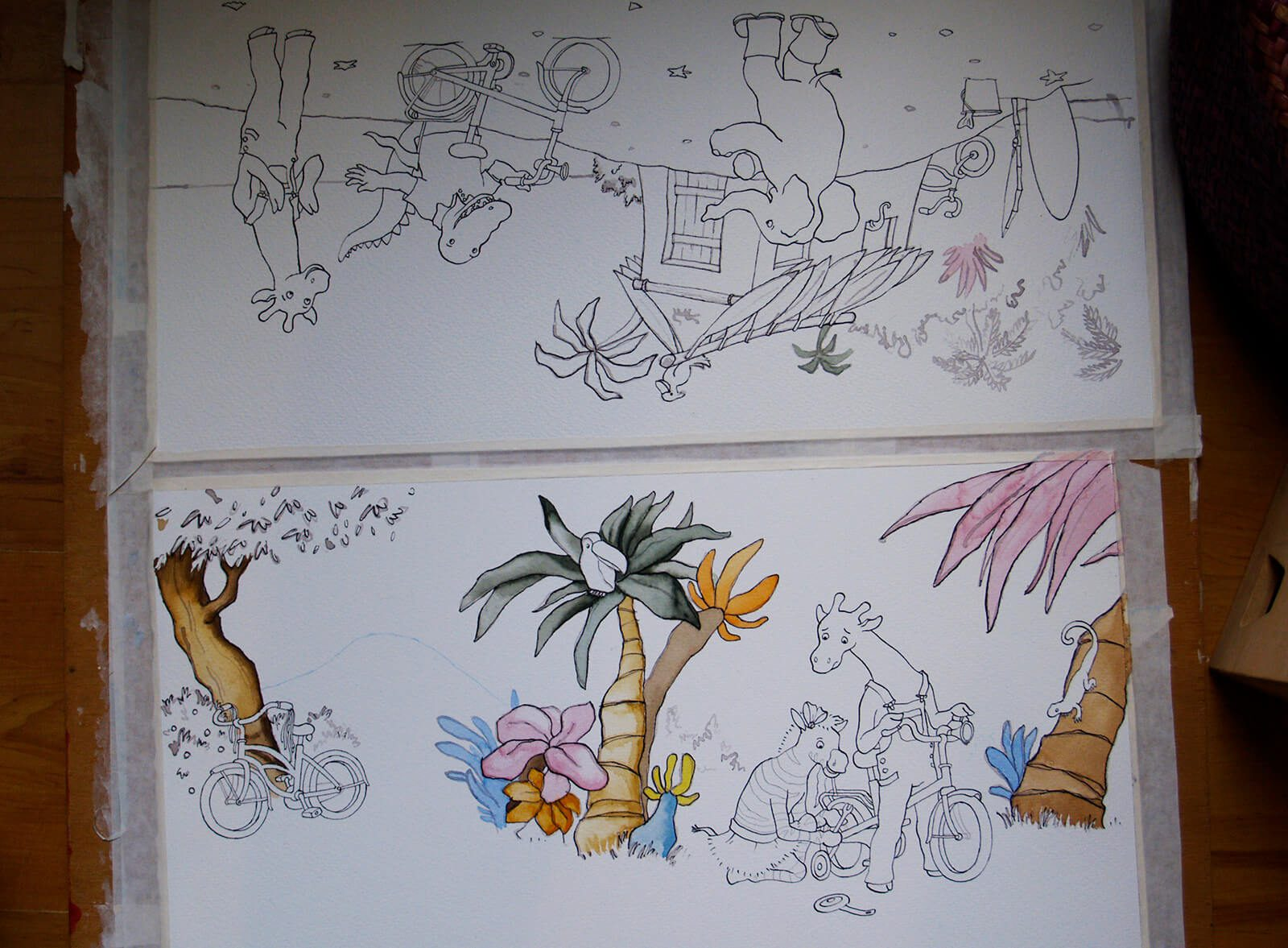 maken-aquarel-illustratie-giraf-fietst