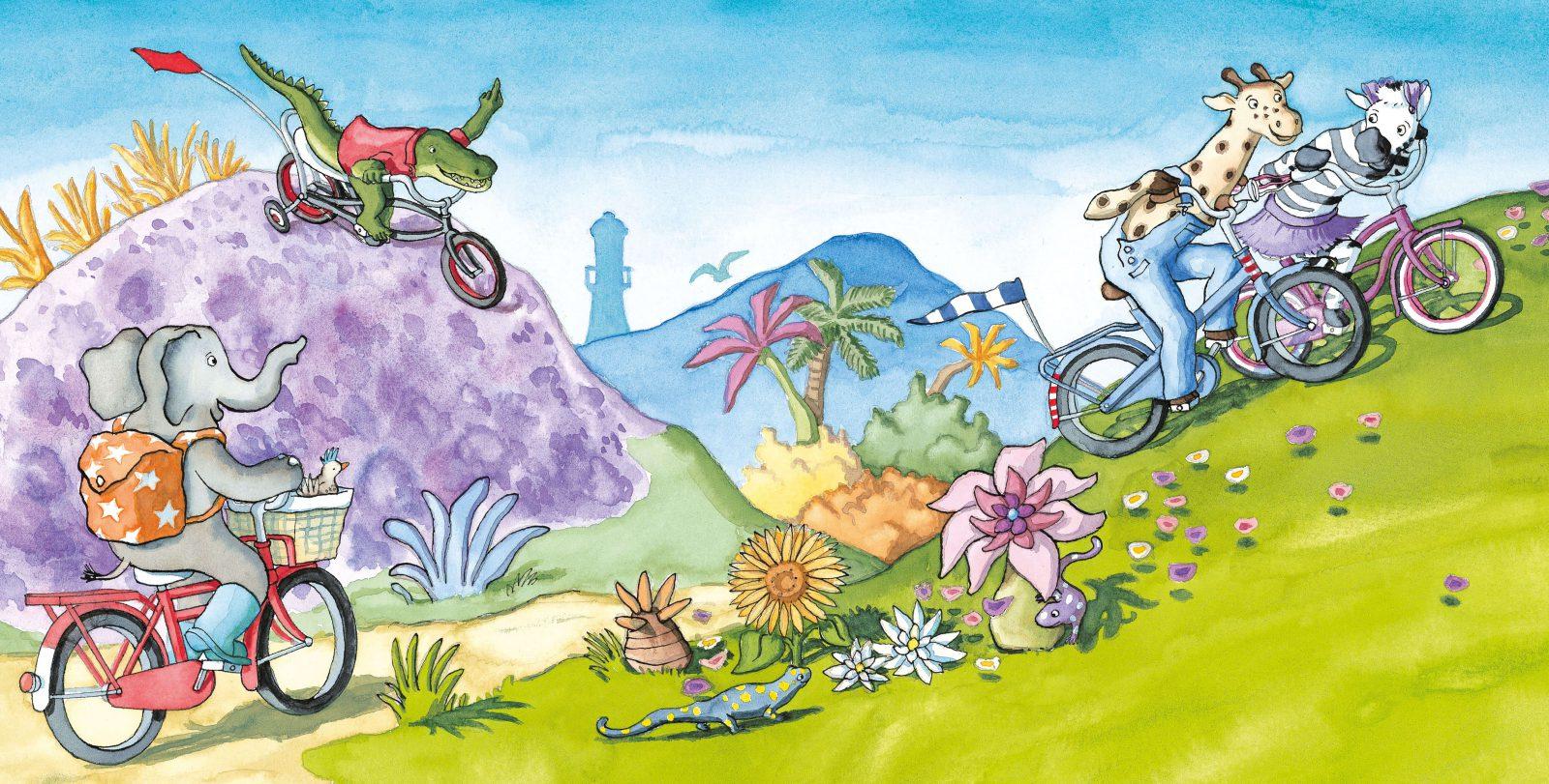 Olifant , Krook , Zebra en Giraf fietsen met zijn allen de berg op illustratie uit Giraf leert fietsen