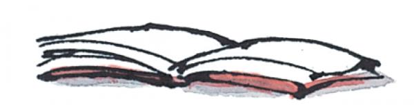 inkt tekening opengeslagen boek uit boeken serie pinguin Max