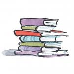 inkt tekening met aquarel, stapel boeken met gekleurde kaften illustratie uit Jij bent geweldig , pinguin Max