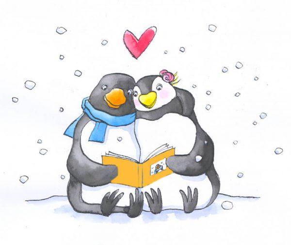 pinguin Max en zijn lief lezen samen het valentijnsboekje Ik blijf bij jou zittend in de sneeuw