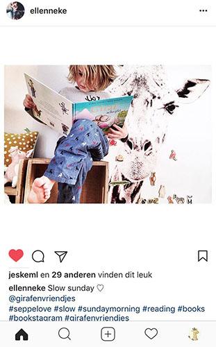 instagram jongen leest giraf schrijft!