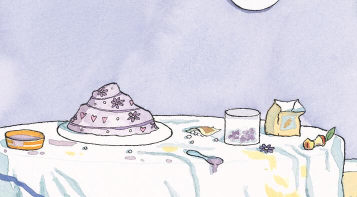 paarse zebrataart, de taart van zebra zelfgebakken paarse fondant illustratie giraf viert feest