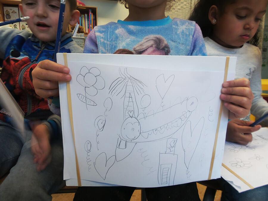 tekening van krook uit de boeken van giraf , workshop tekenen