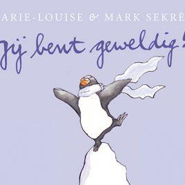 pinguin boek met blauw kaft, jij bent geweldig!